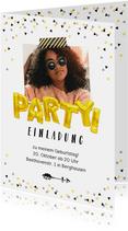 Partyeinladung zum Geburtstag Partyballons mit Foto