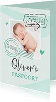 Paspoort geboortekaartje unisex mintgroen made with love