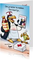 Beterscahpskaart pinguins beterschap verpleegster