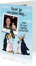 Penguins foto verjaardag 4 met fles wijn RN.