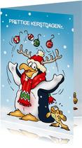 Penguins kerstkaart gewei met ballen