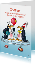 Penguins verjaardag 20 Pinguin met ballon en cadeau RN.