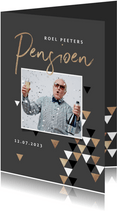 Pensioen uitnodiging stijlvol modern grafisch goud foto