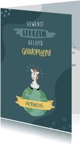 Petrol blauwe adoptie felicitatie kaart met zebra