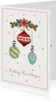 Prettige kerstdagen kaart met kerstballen