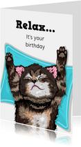 Relax verjaardagskaart met kitten