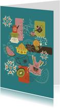 Woonkaarten - Retro keuken woonkaart