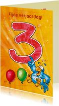 Rocco leeftijd 3 papegaai met ballonnen RN.