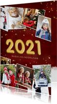 Rode fotocollage kerstkaart met jaartal 2021 stijlvol