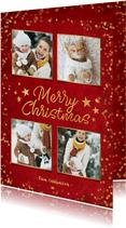 Rode sfeervolle fotocollage kerstkaart met goudlook confetti