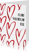 Romantische valentijnskaart met grote harten