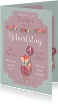 Rosa Einladungskarte Kindergeburtstag kleiner Fuchs