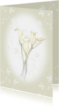 Rouwkaart aquarelbloemen