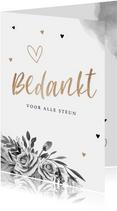 Rouwkaart bedankkaart stijlvol bloemen zwart wit goud