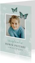 Rouwkaart bidprentje vlinder kind foto jongen of meisje