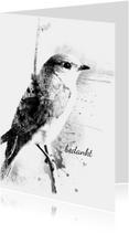 Rouwkaart Eenzaam Vogeltje Brush