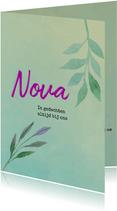 Rouwkaart mintgroen met paars