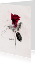 Rouwkaart Roos Rood Bedankt