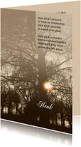 Rouwkaart zon door bomen met gedicht en tekstvoorstel