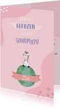 Roze felicitatie kaart voor adoptie met zebra