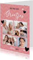 Roze fotocollage kaart met 6 foto's en hartjes