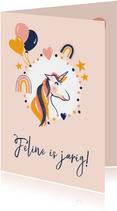 Roze verjaardagskaart met eenhoorn