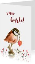 Roze vogeltje met een hartje