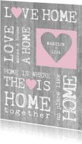 Samenwonen hout tekst hart