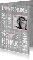 Samenwonen kaart hout tekst foto roze