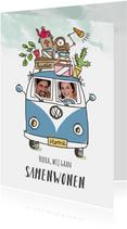 Samenwoonkaart met stel in Volkswagenbusje
