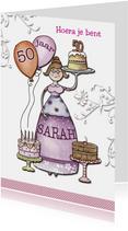 Sarah 50 jaar met taarten