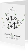 Save te date trouwkaart eco blaadjes stijlvol hartjes