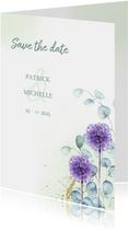 Save the date euqalyptus paarse bloem