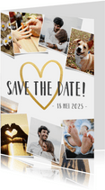 Save the Date fotocollage kaart met polaroid en gouden hart