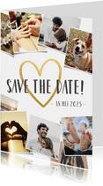 Save the Date fotocollage kaart met polaroid en gouden hart