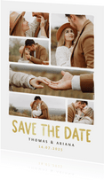 Save the date fotocollage trouwkaart met gouden tekst