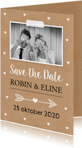Save the Date kaart eigen foto hartjes kraft