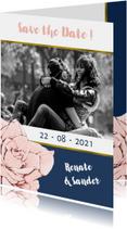 Trouwkaarten - Save the Date kaart in navyblue en goud, met roos en foto