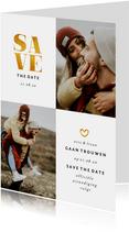 Save the date kaart met foto's en gouden accenten
