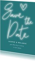 Save the date kaart neon letters, hartje en foto