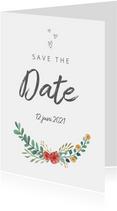 Save the date kaart stijlvol met bloemen