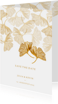 Save the date kaart voor de bruiloft gingkobladeren stempel