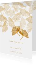 Save the date kaart voor de bruiloft ginkgobladeren stempel