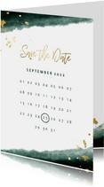 Save the date kalender waterverf gouden tekst