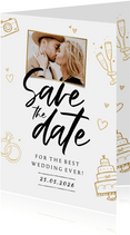 Save-the-Date-Karte Foto & Doodles
