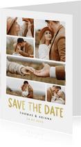 Save-the-Date-Karte Hochzeitsfeier Fotocollage Pinselstrich