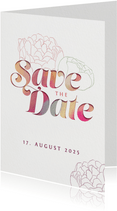 Save-the-Date-Karte mit Pfingstrosen