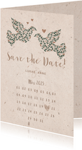 Save-the-Date-Karte mit Tauben & Kalender natürlicher Look