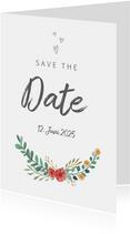 Save-the-Date-Karte zur Hochzeit Blumenornamente