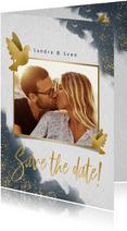 Save-the-Date-Karte zur Hochzeit mit eigenem Foto und Tauben